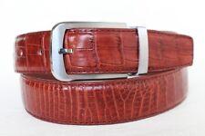 "UnJointed - Red Brown Genuine Crocodile Belt Skin Leather Men's - W 1.3"" #38"