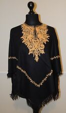 Kashmir Poncho Black with Gold - New - India - Ethnic (item xp13a)
