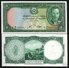 AFGHANISTAN 5 AFGHANIS P22 1939 KING ZAHIR SHAH MOUNTAIN UNC WORLD CURRENCY NOTE