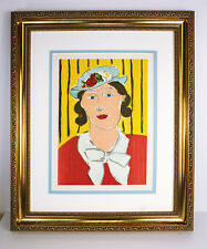 "1939 MATISSE ORIGINAL Color Lithograph ""Blue Hat with Flowers"" SIGNED Framed COA"