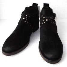 BNWTag MANGO Black Distressed Suede Studded Strap & Buckle Ankle Boots UK Size 5