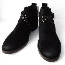 NWTags MANGO Black Suede Studded Strap & Buckle Ankle Boots UK Size 5