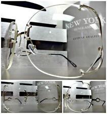 OVERSIZED VINTAGE RETRO Style Clear Lens EYE GLASSES Huge Rimless Silver Frame