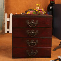 Retro 4-Layers Trinket Jewelry Storage Box Wood Chest Treasure Organizer Box