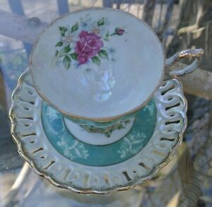 Vtg Iridescent Green with Pink Roses Cup and Reticulated Saucer