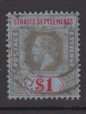 Straits Settlements KGV $1 Black & Red / Blue SG210 Very Good Used 1914 George V
