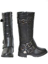 New Girls Kids Knee High Quilted Buckle Boots Black Size 12