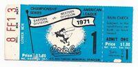 1971 ALCS baseball ticket stub Oakland A's v Baltimore Orioles Gm 1 McNally WIN