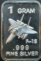 1 Gram .999 Fine Solid Silver Bullion: Mini Art-Bar ~ F 15 Fighter Jet ~ USA