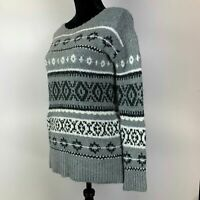 American Eagle Gray Black Boat Neck Aztec Chunky Knit Pullover Sweater Womens XS
