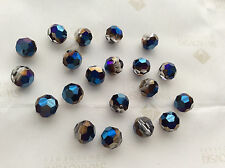 24 Swarovski #5000 8mm Crystal Metallic Blue Round Faceted Beads