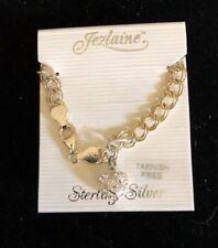 "Jezlaine Sterling Silver 925 Charm BRACELET With Heart 7"" New!"