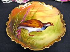 Hand Painted Coronet Limoges Bird Plate Gold Trim Signed 9.5 #3 Brown Bird