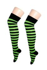 Over The Knee Green And Black Stripy Stripey Socks Sox Striped Thigh High Party