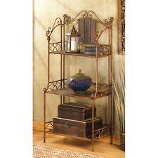 New Rustic Bakers Rack Three Shelf Wood Metal Storage Any Decor