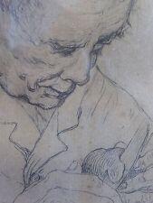 VICTOR DIEU BELLE LITHO GRAVURE VIEIL HOMME PEINTRE BELGE QUAREGNON 1873-1954