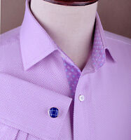 Purple Herringbone Dress Shirt Luxury Basketweave Boss French or Standard Cuffs