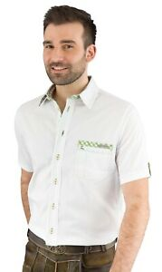 Trachtenhemd Spieth & Wensky Bert weiß grün kurzarm