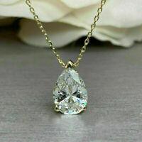 2 ct Pear Sim Diamond Women's Solitaire Pendant Necklace 14k Yellow Gold Finish