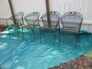 Vintage Russell Woodard Sculpture Wire Patio Chairs set of  four Shipping Extra
