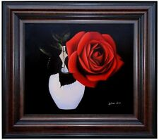 Framed Quality Hand Painted Oil Painting Vase with a Red Rose Beautiful! 20x24in