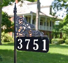 "Reflective Address Yard Sign Oak 34"" Post - Double Sided Custom USA Made."