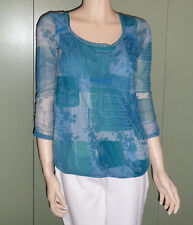 Womens Blue Med Knit Top Light Sheer Summer with 3/4 Sleeves DKNY Jeans Company