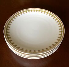 Haviland Limoges Set of 4 Coupe Salad Plates Green with Gold Trim