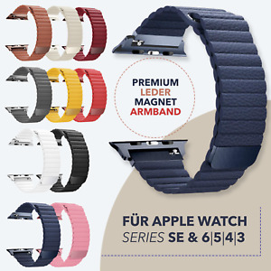 RM Leder Magnet Loop Armband für Apple Watch Series 1- 6 & SE 38mm - 44mm