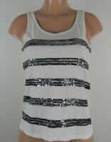 Ann Taylor LOFT Women's Sleeveless Blouse-Ivory/Black/Sequins-Career-Size XS