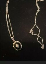 Vintage 14kt White Gold Black Onyx And Diamond Pendant With Chain