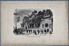 vintage engraving Great temple Macau Macao China gravure Radierung ca 1865