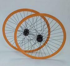 Paire de roue fixie single speed orange 30mm a double filetage flip flop vélo