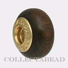Authentic Pandora 14K Gold Coracao De Negro Wood Bead 750708 *RETIRED*
