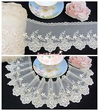 """4""""*1Y Embroidered Tulle Lace Trim~Beige Gold~Timeless Elegance~Wedding/Sewing~"""