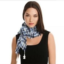 JUICY COUTURE $68 WILDERNESS CRINKLE PLAID TASSEL SCARF Blue White
