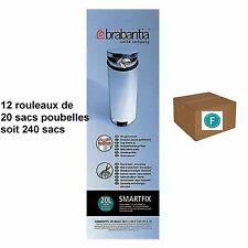 """BRABANTIA LOT 240 SACS POUBELLES  """"F""""   pour poubelle SLIMLINE 20 litres"""