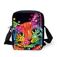 Cute Cat Handbag Messenger Cross Body Shoulder Bag Purse Colorful Womens Girls