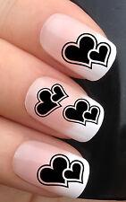 Nail Art Set # 356. X24 Negro Doble Amor Corazón de transferencia de agua Calcomanías Stickers