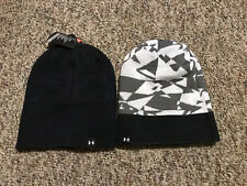 Under Armour Reversible Red & Black Logo Graphic Knit Beanie Youth Boy's 8-20