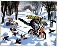 Cat Pulling Sled With Bike Through Snow Kliban Cat Print Color Vintage