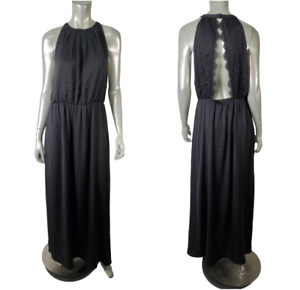 H&M Womens Maxi Dress Size 12 Open Back Lace Pullover Crew Neck Black NWT