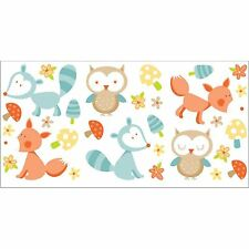 FOREST FRIENDS 29 WALL STICKERS NEW - OWLS, FOXES BEDROOM DECOR