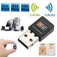 Dual Band 600Mbps Wireless USB WiFi Network Adapter LAN Card 5Ghz 802.11AC New