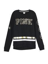 NWT VICTORIA SECRET PINK Black Sequin Bling Crew Sweatshirt Pullover XS NEW