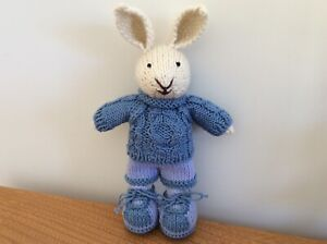 Hand Knitted Bunny Rabbit, Blue Clothes - Gift, Birthday, Present