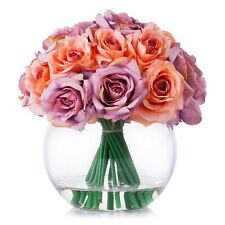 Enova Home Silk Rose Flower Arrangement in Clear Glass Vase With Faux Water