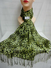 LEOPARD PRINT PATTERN LIGHT WEIGHT WRAP OR SCARF COLOR GREEN