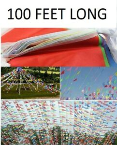 100 Feet Long Bunting Flags Banner Party Sports School Event Home Decoration Fun