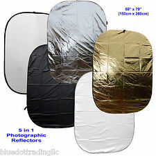 """Us Seller! Large 60x79"""" 5-in-1 Collapsible Oval Reflector Disc Set 150x200cm"""